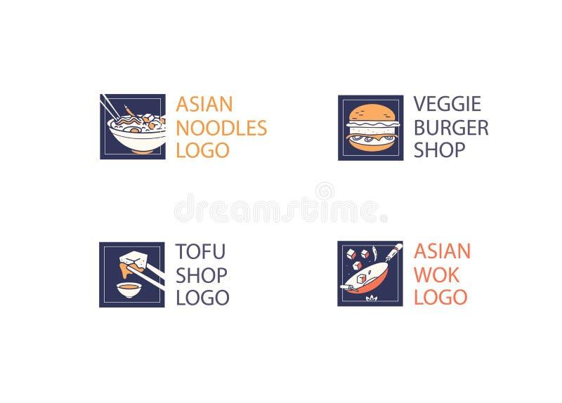 Logotipo del restaurante de los tallarines y del queso de soja o de la hamburguesa fotos de archivo libres de regalías