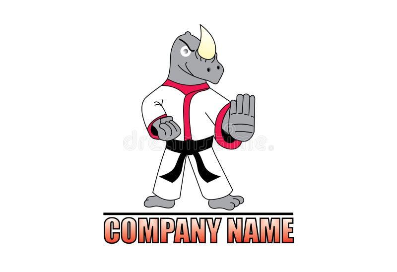 Logotipo del rinoceronte del karate ilustración del vector