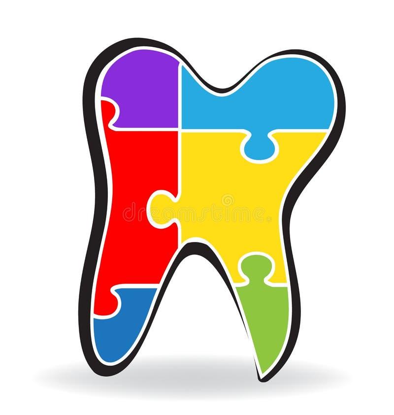 Logotipo del rompecabezas del diente libre illustration