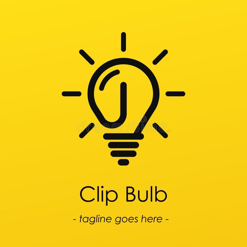 Logotipo del símbolo de la bombilla con la idea creativa, símbolo del clip en bombilla ilustración del vector