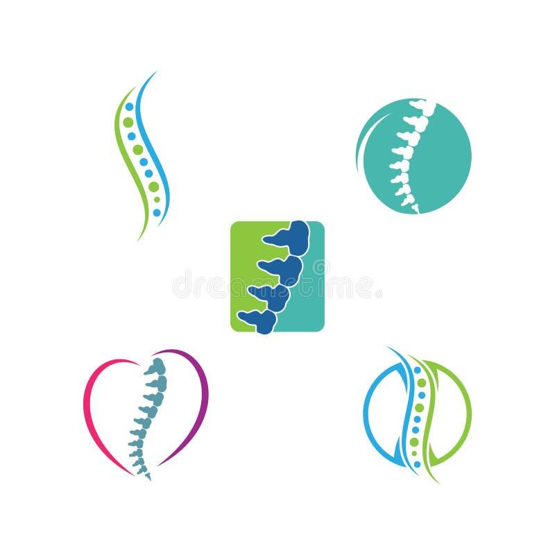 Logotipo del símbolo de los diagnósticos de la espina dorsal ilustración del vector