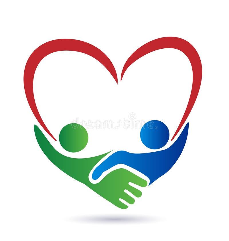 Logotipo del símbolo del amor del apretón de manos stock de ilustración