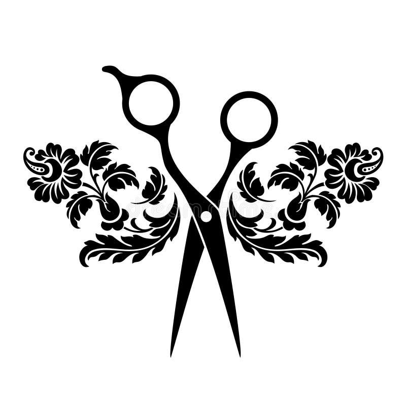 Logotipo del sal?n de belleza, logotipo de la barber?a Tijeras negras en el fondo blanco Icono del peluquero ilustración del vector