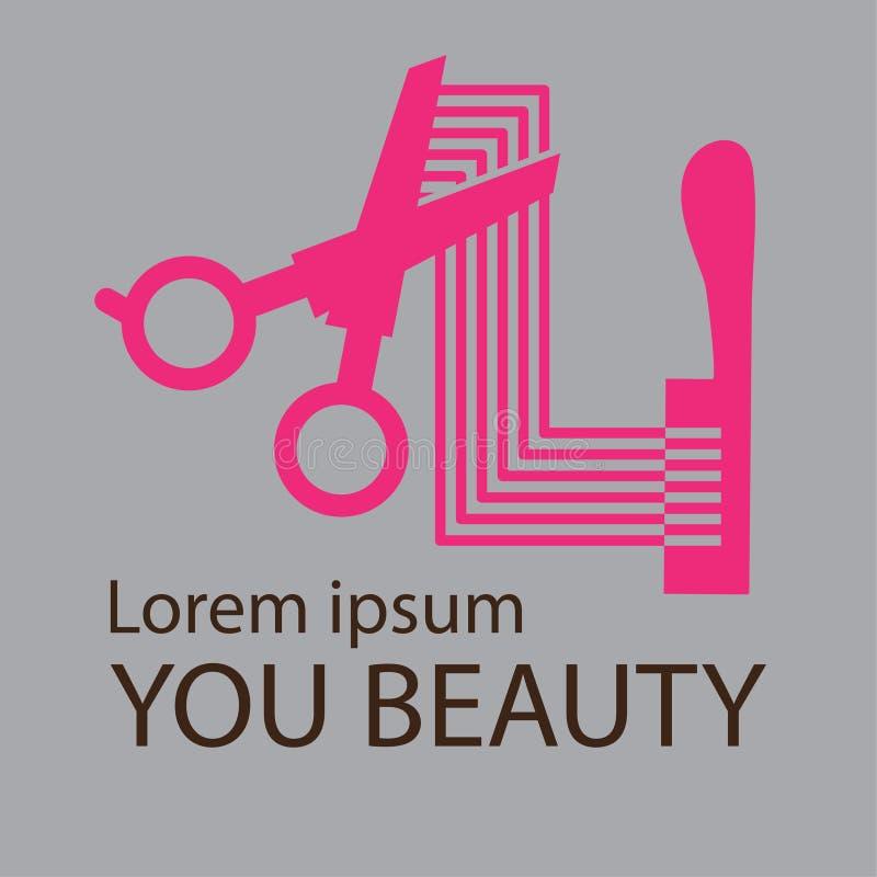 Logotipo del salón de pelo, diseño cosmético del logotipo del salón libre illustration