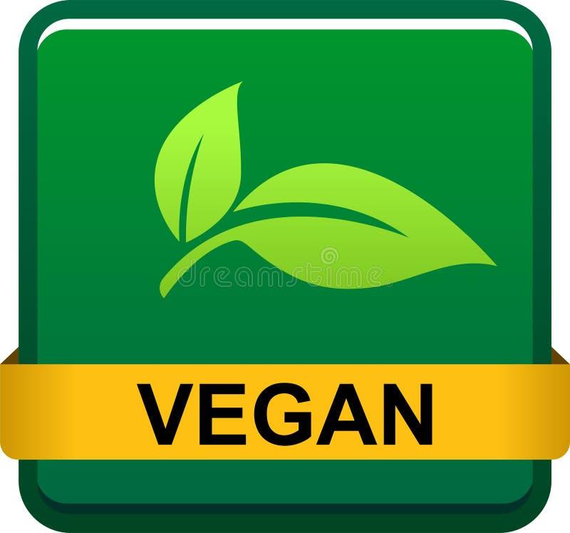 Logotipo del sello del sello de la comida del vegano ilustración del vector