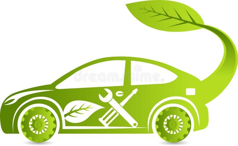 Logotipo del servicio del coche de Eco ilustración del vector