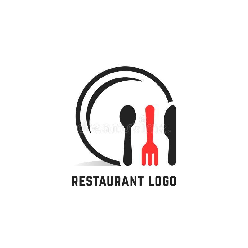 Logotipo del servicio del restaurante aislado en blanco ilustración del vector