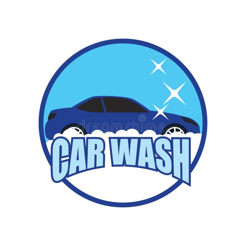 Logotipo del servicio del túnel de lavado aislado en el fondo blanco stock de ilustración