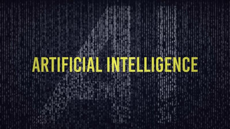 Logotipo del título del código de ordenador de la inteligencia artificial del AI con un grado azul y amarillo del color