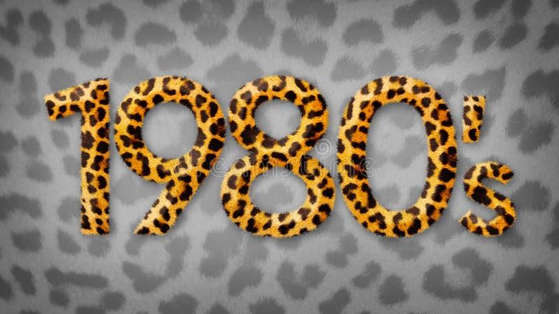 logotipo del título del estampado leopardo de los años ochenta de los años 80 en un fondo gris del estampado leopardo ilustración del vector
