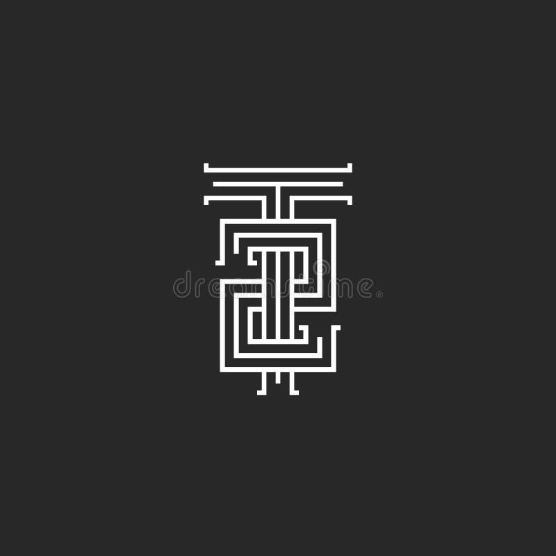 Logotipo del T2 de las iniciales del inconformista, estilo mínimo blanco y negro linear del número 2 de la letra T de la combinac stock de ilustración