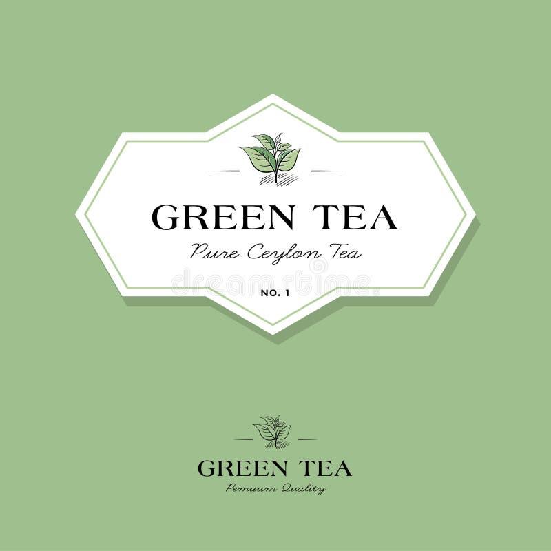 Logotipo del t? verde Etiqueta para el té de la élite Las hojas y las letras en un estilo clásico en una etiqueta geométrica blan libre illustration