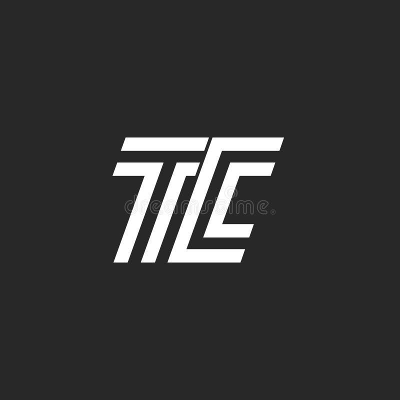 Logotipo del TC de la letra del monograma, ligado dos mayúsculas C y estilo mínimo linear blanco y negro del emblema de T, firma  stock de ilustración