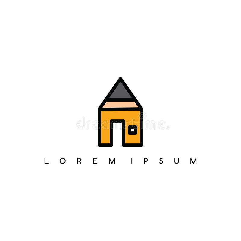 Logotipo del logotipo del tema de la casa del lápiz libre illustration