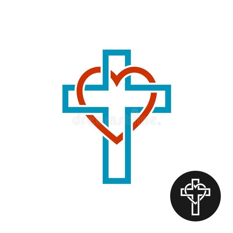 Logotipo del tema de la religión del amor del corazón y de la cruz stock de ilustración