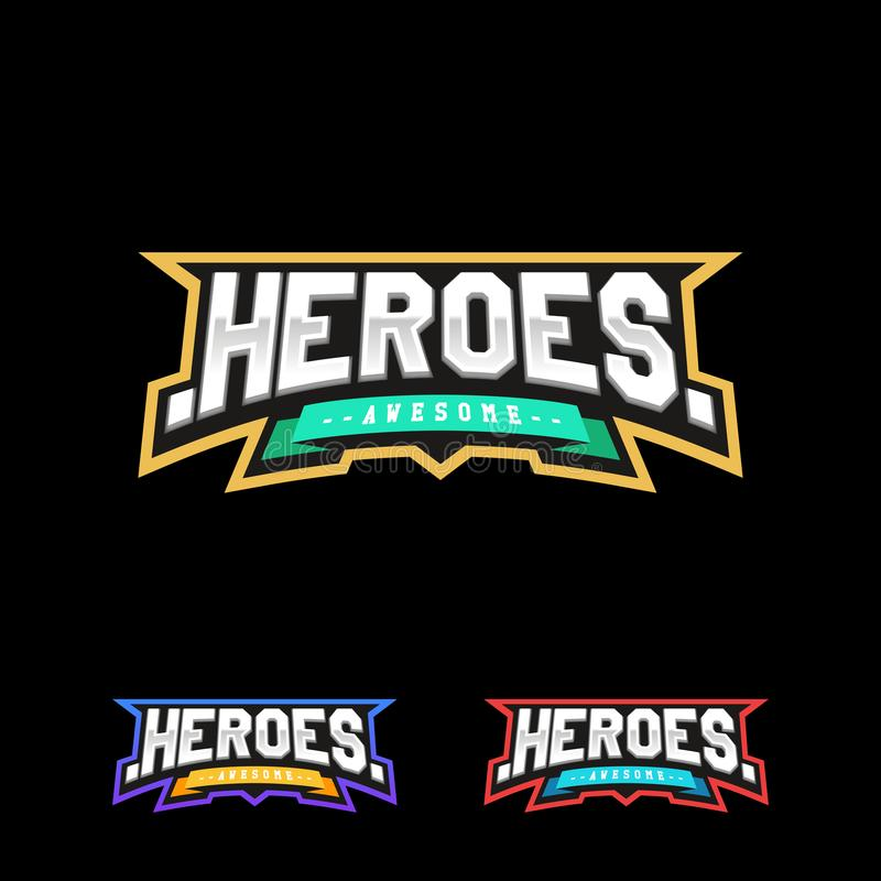 Logotipo del texto del deporte de los héroes o del super héroe libre illustration