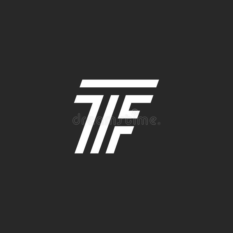 Logotipo del TF de la letra del monograma, ligado dos mayúsculas T y estilo linear blanco y negro del emblema de F, diseño de la  ilustración del vector
