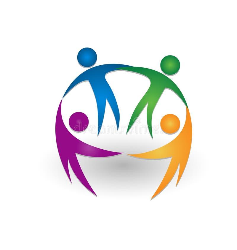 Logotipo del trabajo en equipo de la gente junto libre illustration