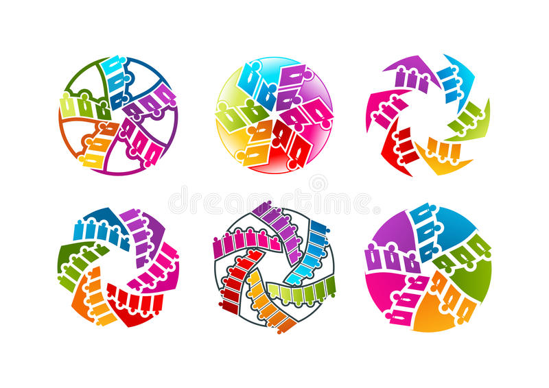 Logotipo del trabajo en equipo, icono de la gente, símbolo del hombre de negocios y diseño de concepto del personal ilustración del vector