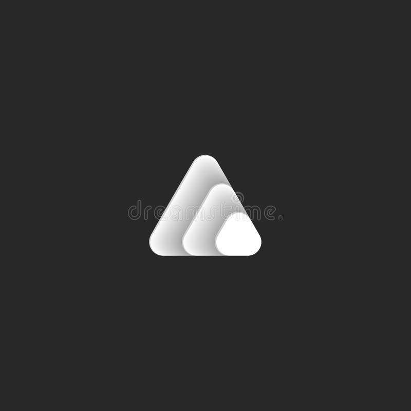 Logotipo del triángulo de los tres triángulos que consisten en bajo la forma de escalas de papel en el color de la pendiente blan libre illustration