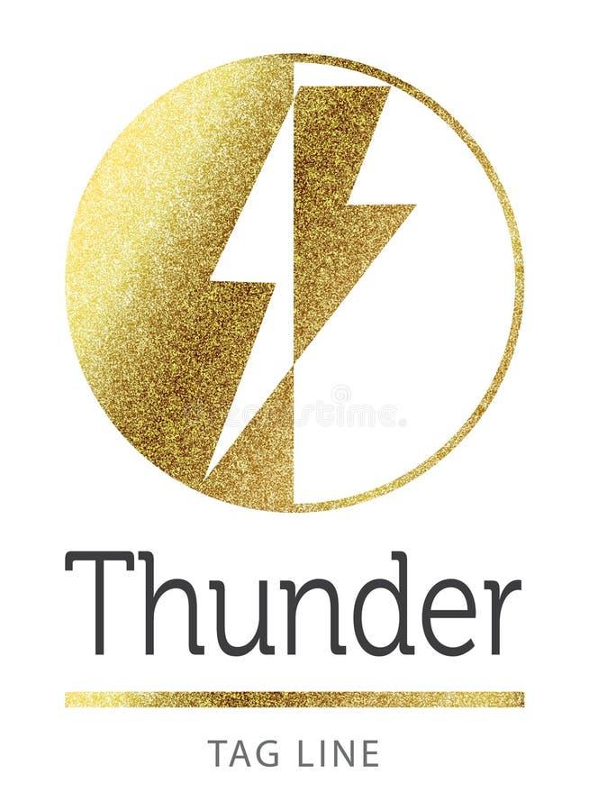 Logotipo del trueno en de oro imagen de archivo libre de regalías