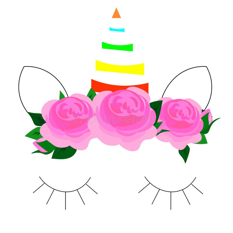 Logotipo del unicornio con el cuerno, los oídos y las flores Grande para la insignia, tarjeta, saludo, fiesta de cumpleaños del b ilustración del vector