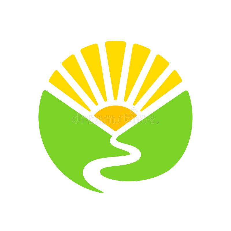 Logotipo del valle y del sol stock de ilustración
