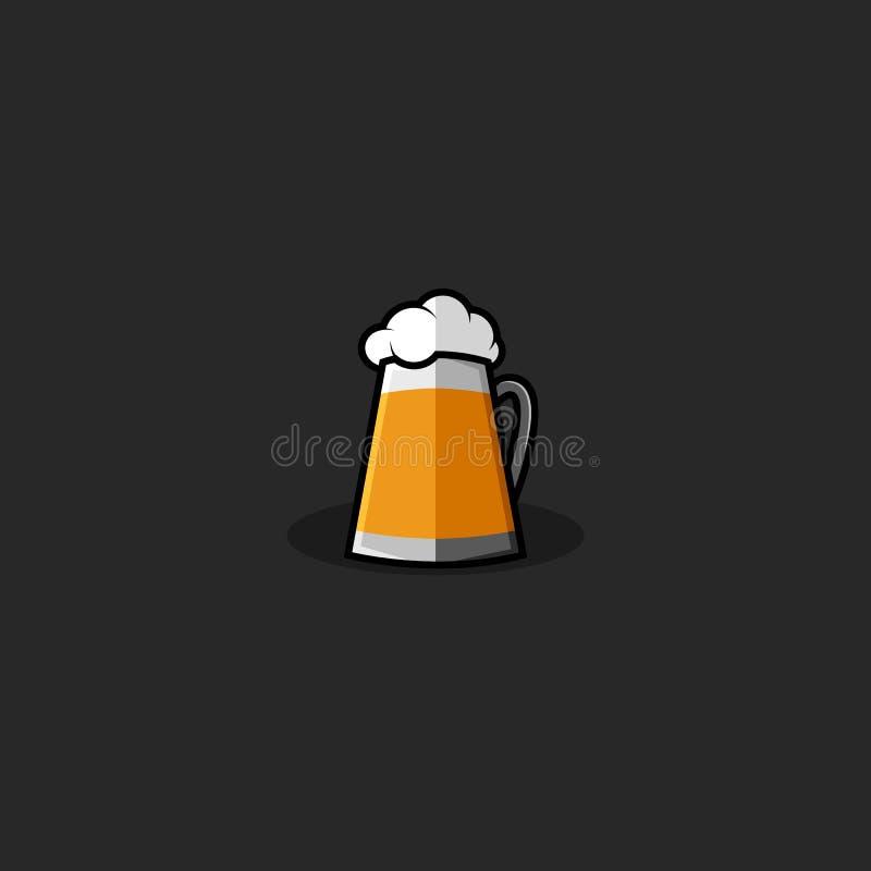 Logotipo del vaso de cerveza, cerveza dorada de la taza de bebida amarilla fría con la maqueta mullida blanca del emblema de la e stock de ilustración