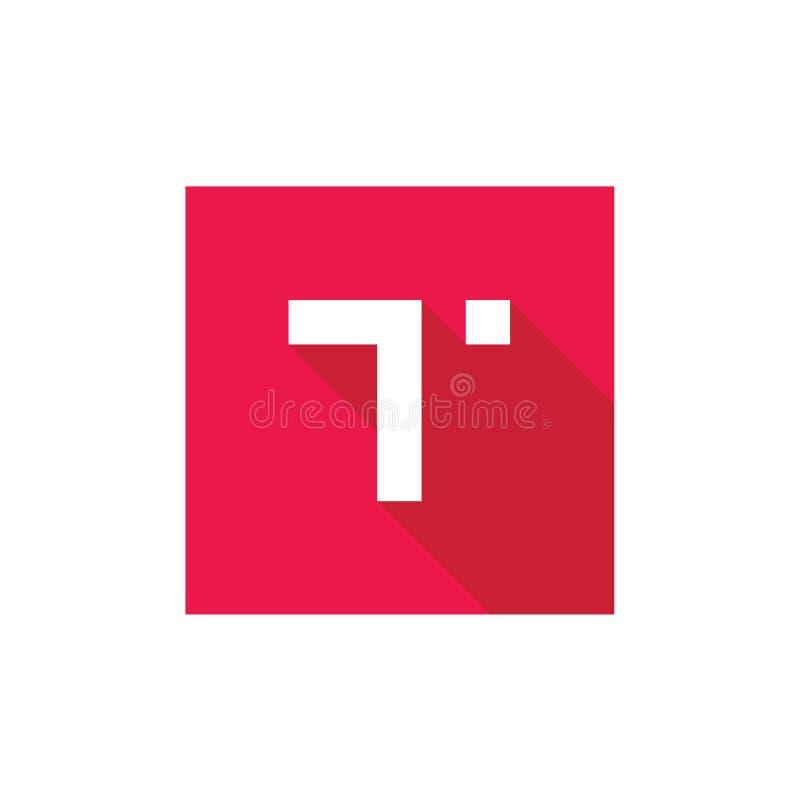 Logotipo del vector del alfabeto T, combinado con la Plaza Roja, diseño del icono del alfabeto T, estilo largo plano de la sombra libre illustration
