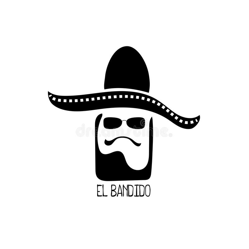 Logotipo del vector del bandido del EL con la cabeza del hombre en sombrero Logotipo mexicano con el carácter Icono blanco negro  ilustración del vector