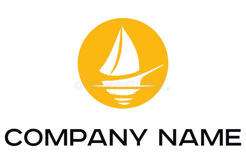 Logotipo del vector del barco blanco con las velas libre illustration