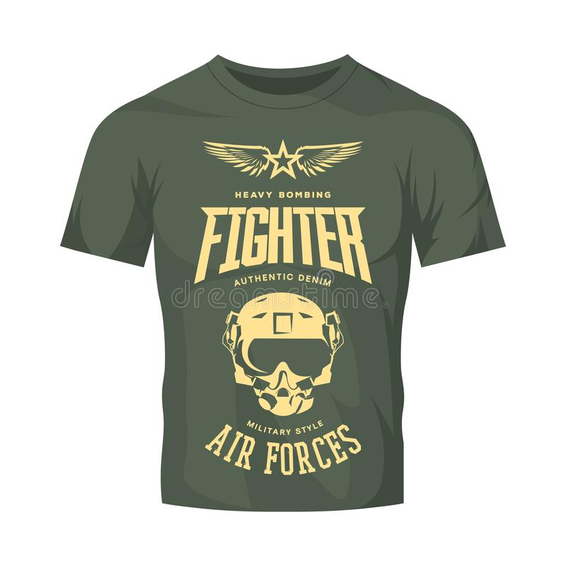 Logotipo del vector del casco del piloto de caza del vintage aislado en mofa de color caqui de la camiseta para arriba stock de ilustración
