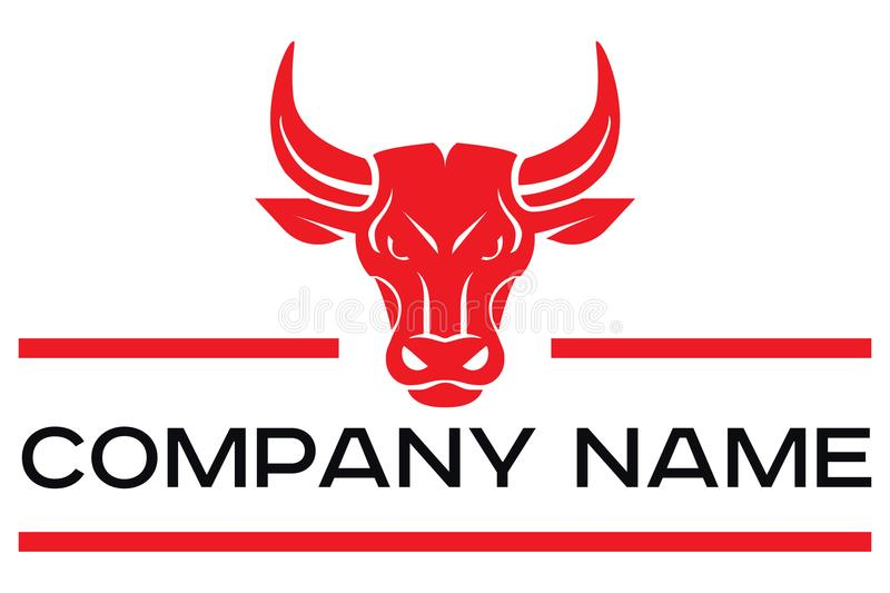 Logotipo del vector de la cabeza roja del toro stock de ilustración