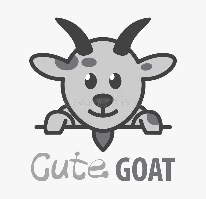 Logotipo del vector de la cabra sonriente divertida de la historieta del ?ute Plantilla chistosa moderna del logotipo con la imag ilustración del vector