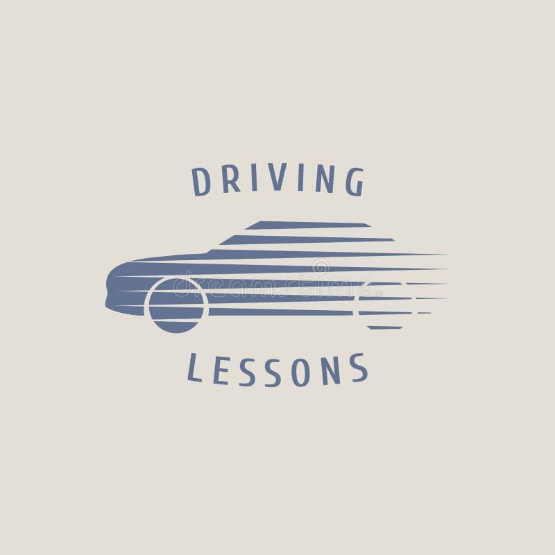 Logotipo del vector de la escuela de conducción del automóvil, muestra, emblema ilustración del vector