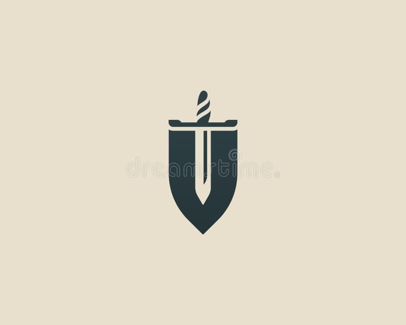 Logotipo del vector de la espada del escudo Diseño del logotipo de la protección legal de la ley Icono del símbolo del guardia de stock de ilustración