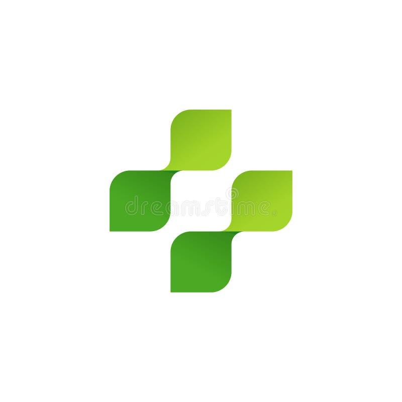 Logotipo del vector de la farmacia, cruz médica del símbolo de hojas verdes stock de ilustración