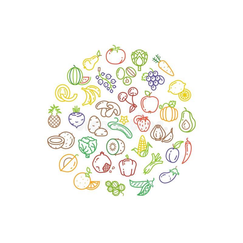 Logotipo del vector de la fruta y verdura con la línea iconos libre illustration