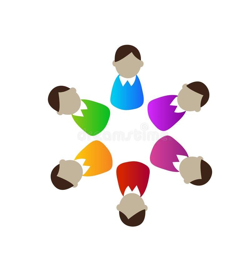 Logotipo del vector de la gente de la reunión de negocios de los ejecutivos del trabajo en equipo ilustración del vector