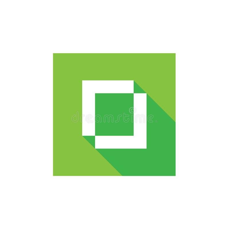Logotipo del vector de la letra O de Digitaces, diseño del icono del alfabeto O, pixel Art Syle, diseño plano stock de ilustración