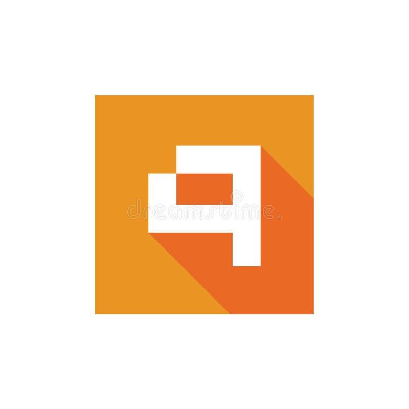 Logotipo del vector de la letra Q de Digitaces, diseño del icono de Q combinado con el cuadrado anaranjado stock de ilustración