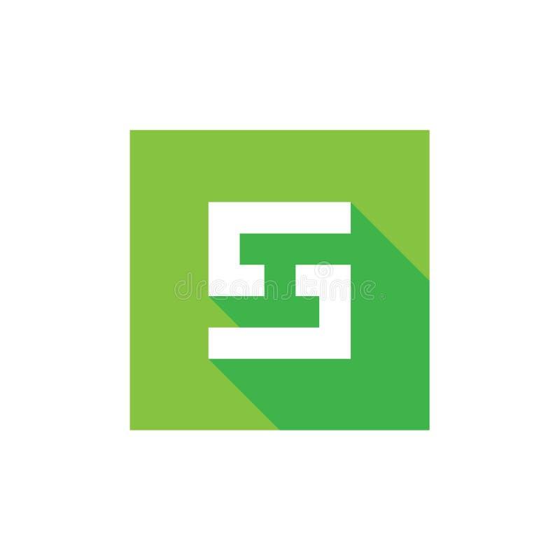 Logotipo del vector de la letra S, combinado con el cuadrado verde, diseño del icono del alfabeto S stock de ilustración
