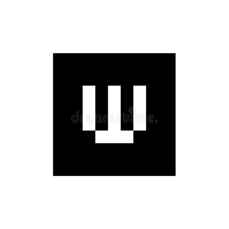 Logotipo del vector de la letra W, combinado con forma cuadrada, diseño blanco y negro del icono del alfabeto W libre illustration