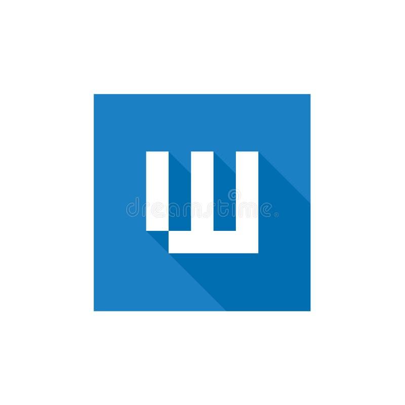 Logotipo del vector de la letra W de Digitaces, combinado con diseño cuadrado azul de la forma, simple y limpio del alfabeto W de ilustración del vector