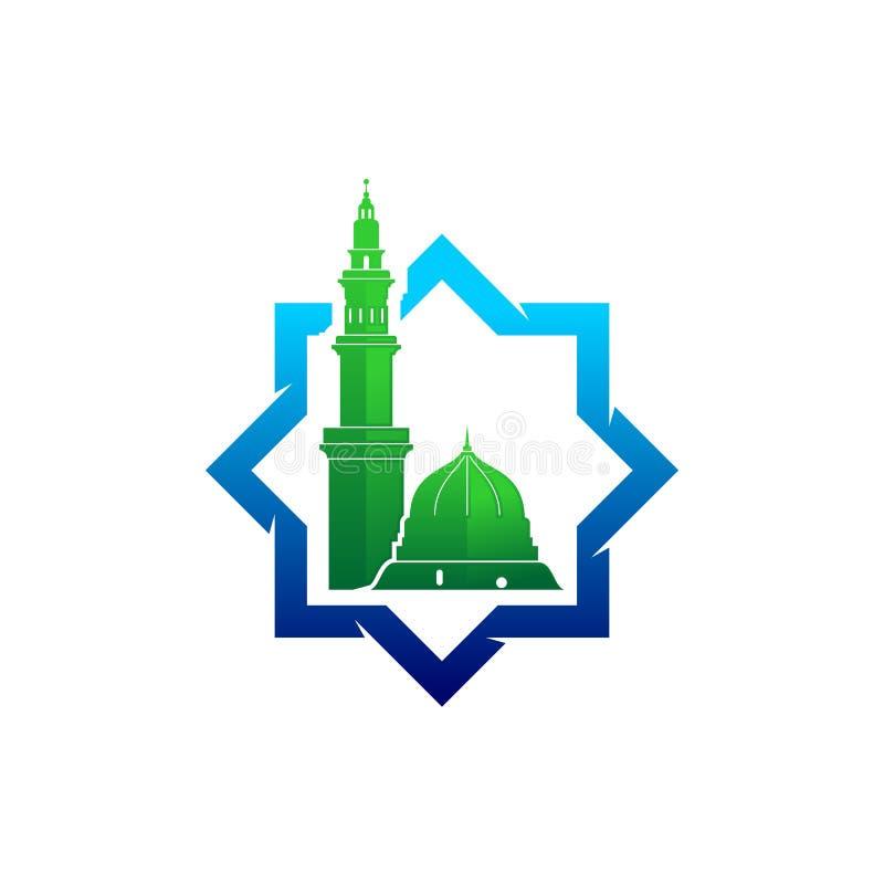 Logotipo del vector de la mezquita de Madinah stock de ilustración
