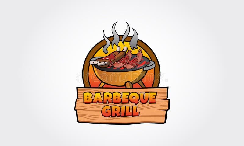 Logotipo del vector de la parrilla de la barbacoa stock de ilustración