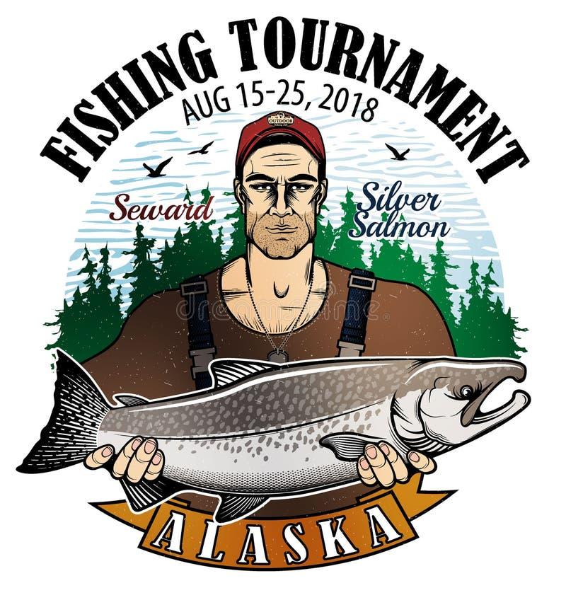 Logotipo del vector de la pesca icono del pescador o de los pescados stock de ilustración