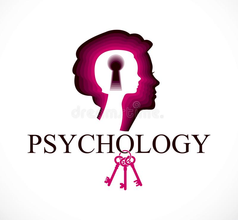 Logotipo del vector de la psicología creado con perfil y el littl de la cabeza de la mujer stock de ilustración