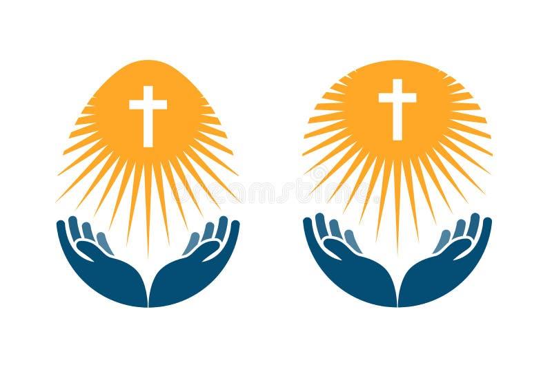 Logotipo del vector de la religión La iglesia, icono ruega o de la biblia libre illustration