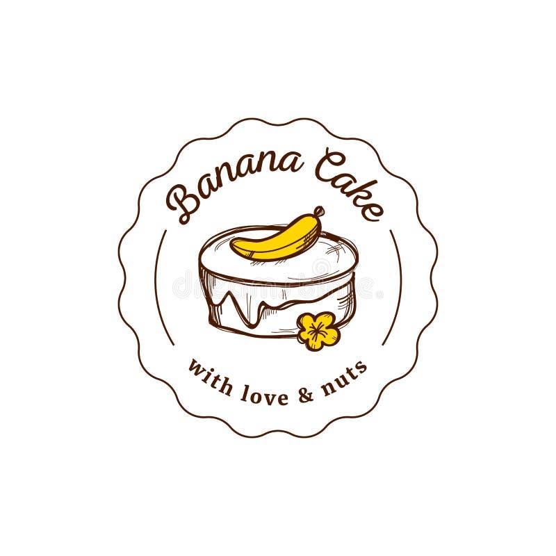 Logotipo del vector de la torta en estilo del vintage Ejemplo del postre Diseño de la etiqueta de la panadería, icono dulce de la ilustración del vector
